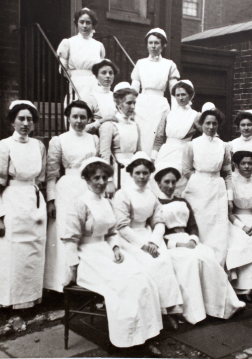 Al Hartmann  |  The Salt Lake Tribune Irene Corbett, who was returning from midwife-nursing training in England, was the only Utahn who died on the Titanic. Photograph of the graduating midwife-nursing class from General London Lying In Hospital. Irene is at the top of the photo because she was at the top of the class.   Photo courtesy of Don Corbett