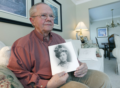 Al Hartmann  |  The Salt Lake Tribune Don Corbett holds a family photograph of his grandmother Irene Corbett, who was returning from midwife-nursing training in England and died on the Titanic. He never got to meet her. She was the only Utahn aboard the Titanic.