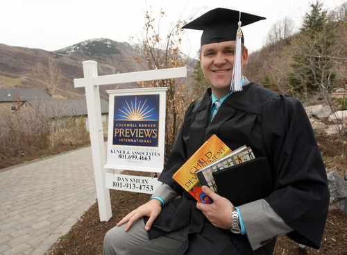 Steve Griffin | The Salt Lake Tribune Utah has one of the lowest rates of student borrowing in the nation. This may be one of the reasons why U. students take longer than their peers to graduate. Many, like Realtor Dan Smuin, pictured here in his cap and gown, have jobs. Smuin, who graduates this spring after eight years in college, has worked full time.