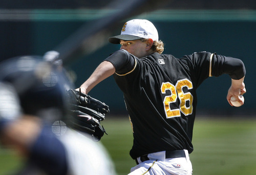 Scott Sommerdorf  |  The Salt Lake Tribune              Salt Lake Bees starting pitcher Garrett Richards pitches against the Tucson Padres, Sunday, April 15, 2012. Richards allowed just three hts in the game while pushing his record to 2-0.