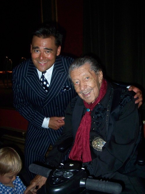 Courtesy photo Ellington vocalist (1939-43) Herb Jeffries with Tad Calcara, leader of the New Deal Swing Band, after their concert together in California in 2011.