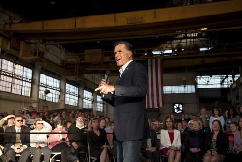 Republican presidential candidate, former Massachusetts Gov. Mitt Romney speaks during a campaign stop at RC Fabricators on Tuesday, April 10, 2012 in Wilmington, Del. (AP Photo/Evan Vucci)