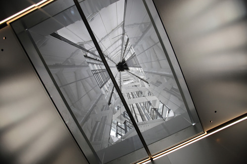 The tower structures of the Tokyo Sky Tree are seen through the top window of the elevator on the way to the 450-meter (1,476 feet)-high observation deck during a press preview in Tokyo Tuesday, April 17, 2012. The world's tallest freestanding broadcast structure that stands 634-meter (2,080 feet) will open to the public in May. (AP Photo/Itsuo Inouye)