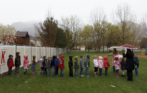Trent Nelson  |  The Salt Lake Tribune A kindergarten class lines up after evacuating Granite Elementary during a statewide earthquake drill Tuesday, April 17, 2012 in Sandy, Utah.