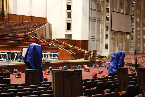 LDS Church courtesy photo   Fans dry carpet in the Conference Center after water from sprinkler heads overflowed to the auditorium floor. Flooding was limited to a 50-foot area in front of the podium but did not cause significant damage.