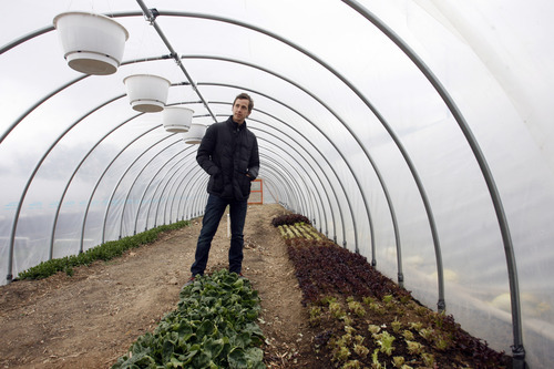 Rick Egan  | The Salt Lake Tribune  One of the newest CSAs in Utah is La Nay Ferme, a one-acre farm in Provo, owned by Clinton Feldsted, pictured.