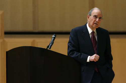 Francisco Kjolseth  |  The Salt Lake Tribune Sen. George Mitchell, former U.S. Special Envoy for Middle East Peace, takes questions after he speaks at the 2012 World Leaders Lecture Forum, sponsored by the U.'s Tanner Humanities Center. Mitchell's lecture, titled