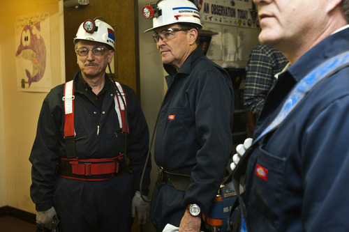 Photo by Chris Detrick | Tribune file photo Utah Gov. Gary Herbert is shown touring the Sufco Mine in Emery County last summer. Herbert has made energy development one of the top priorities of his administration and energy interests are big donors to his election campaign.