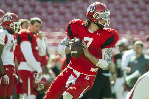 Chris Detrick  |  The Salt Lake Tribune Utah Utes quarterback Travis Wilson (7) looks to pass the ball during a practice at Rice-Eccles Stadium Tuesday April 17, 2012.