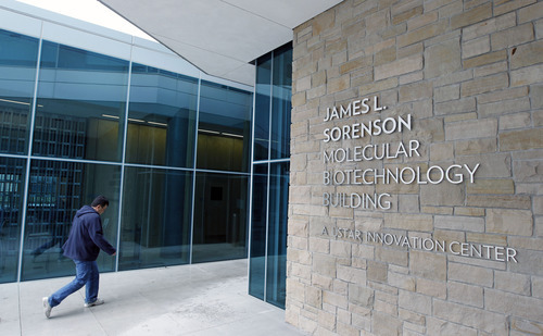 Al Hartmann  |  The Salt Lake Tribune The James L. Sorenson Molecular Biotechnology Building, the University of Utah's new $130 million USTAR facility, will be dedicated on Thursday, April 19.