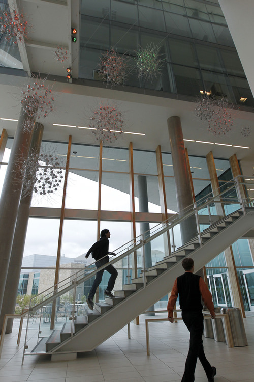 Al Hartmann  |  The Salt Lake Tribune Atrium and stairway in the James L. Sorenson Molecular Biotechnology Building, the newUSTAR facility at the University of Utah.