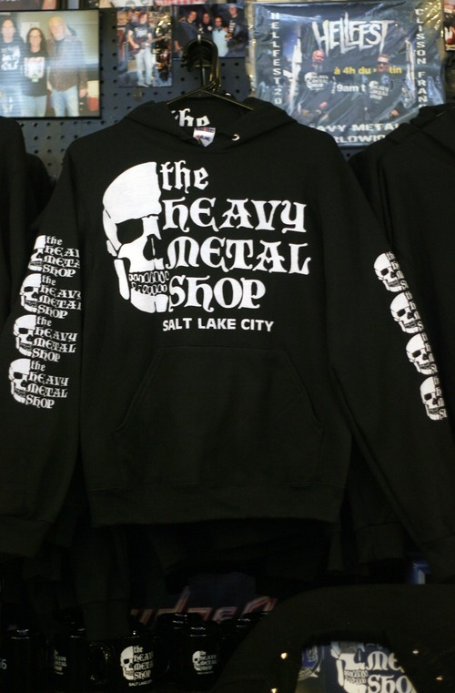 Kim Raff | The Salt Lake Tribune  Heavy Metal Shop is celebrating its 25th anniversary this year. The biggest seller at the Salt Lake City shop has been its iconic skull T-shirt.