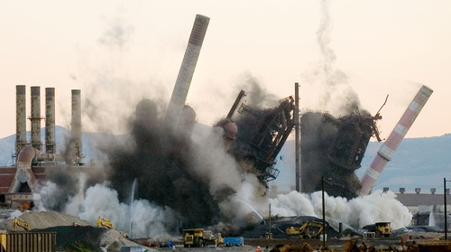 Steve Griffin  |  The Salt Lake Tribune  On June 30, 2005, the demolition of Geneva Steel began as the blast furnaces where knocked to the ground.