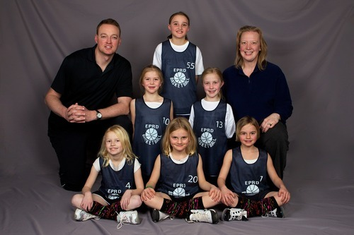 Ex-Utah forward Keith Van Horn and his daughter's basketball team. Van Horn retired from the NBA at age 30 in 2006 to spend more time with his family. Courtesy photo