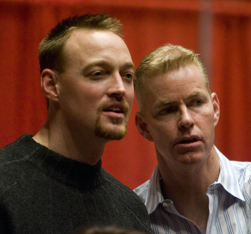 Tribune file photo Former University of Utah basketball players Keith Van Horn (left) and Pace Manion talk during a reception for the University of Utah's All Century basketball team in 2008.