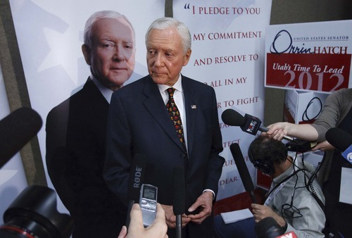 Leah Hogsten  |  The Salt Lake Tribune Sen. Orrin Hatch came up just short of the support needed to claim his party's nomination for the seventh time, forcing him into a primary election with former state Sen. Dan Liljenquist in June. After two rounds of balloting, Hatch had the support of 59.1 percent, a handful of votes short of the 60 percent threshold to claim the nomination outright. The Utah Republican Party held its nominating convention Saturday in Sandy at the South Towne Exposition Center.