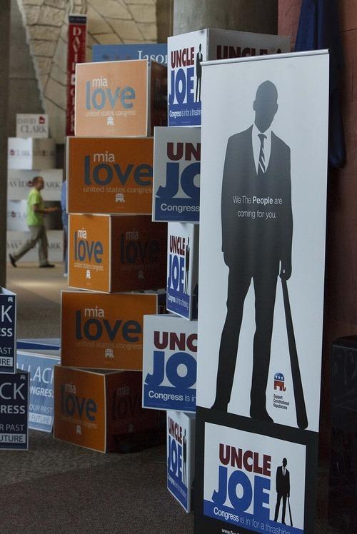 Leah Hogsten  |  The Salt Lake Tribune First Congressional District candidate Leonard Joe Fabiano's advertising placards depict