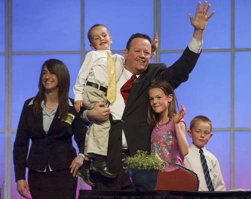 Leah Hogsten     The Salt Lake Tribune 4th Congressional District candidate Carl Wimmer, wife Sherry and children Jade, Heston and Reagan. The Utah Republican Party held its nominating convention Saturday, April 21 2012 in Sandy at the South Towne Exposition Center.