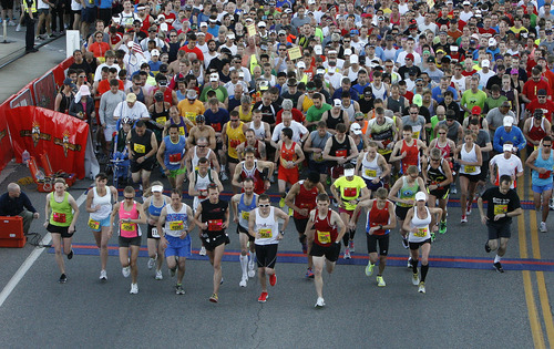 The start of the Salt Lake Marathon, Saturday, April 21, 2012.  (AP Photo/The Salt Lake Tribune, Scott Sommerdorf)