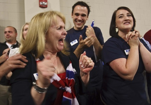 Leah Hogsten     The Salt Lake Tribune Former state Sen. Dan Liljenquist's mother-in-law Shelley Davies celebrates after learning that Lilenquist and Sen. Orrin Hatch will face a primary election.