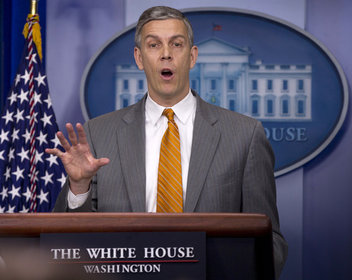 Education Secretary Arne Duncan speaks durng the daily news briefing at the White House, Friday, April 20, 2012, in Washington. (AP Photo/Carolyn Kaster)