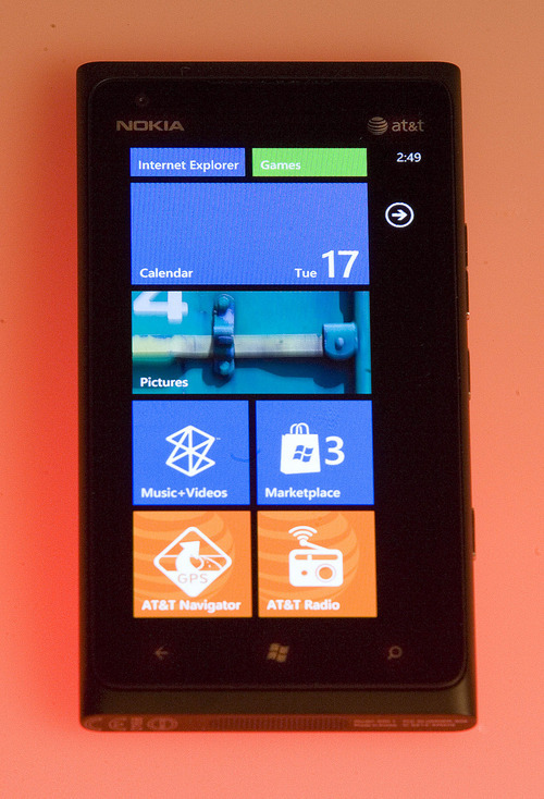 Paul Fraughton | The Salt Lake Tribune. Nokia Lumina 900 phone.  Tuesday, April 17, 2012