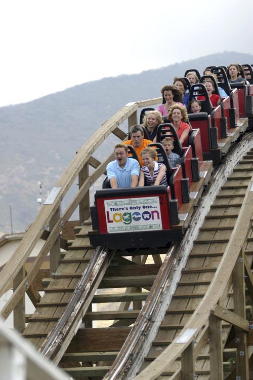 Built in 1921, Lagoon's wooden coaster still thrills riders today.  Courtesy of Lagoon