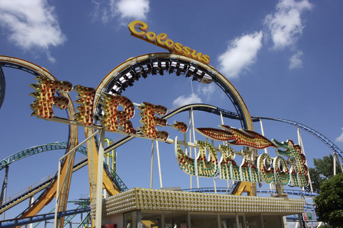 The Colossus roller coaster is one of many thrill rides at Lagoon. Courtesy of Lagoon