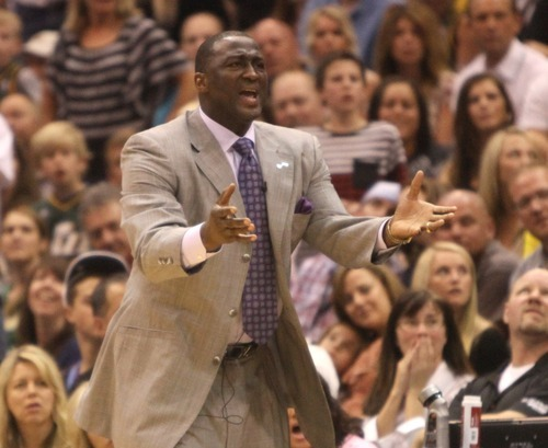 Rick Egan  | The Salt Lake Tribune   Utah Jazz head coach Tyrone Corbin reacts as a call goes against the Jazz, as it is overturned with 30 seconds left in regulation, in NBA action, Utah Jazz vs. The Orlando Magic, in Salt Lake City,  Saturday, April 21, 2012