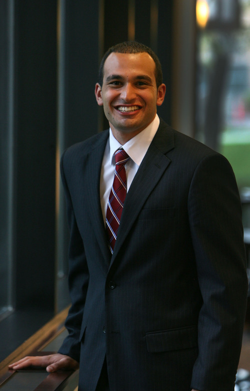 Steve Griffin/The Salt Lake Tribune   Mustapha El Akkari is the new student body president at BYU-Hawaii. He is the school's first non-Mormon president and a Muslim. He is photographed here at Nu Skin in Provo, Utah, Wednesday April 18, 2012.