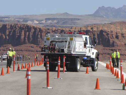 Mark Havnes     The Salt Lake Tribune A U.S. Forest Service Fire engine negotiates a dog leg driving course at Great Basin Fire Engine Acdemy Tuesday in St. George trying not to knock over cones.