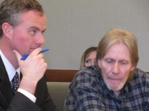 Attorney Joseph Jardine, left, and his client, Theron Alexander listen in 3rd District Court on Tuesday, April 24, 2012. Charges against Alexander, 54, were dismissed after a judge ruled Utah Highway Patrol Cpl. Lisa Steed was not credible. Pool photo by Chris Vanocur.