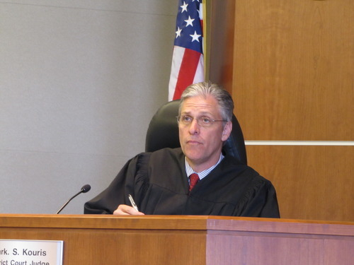 Third District Court Judge Mark Kouris listens in court on Tuesday, April 24, 2012. Kouris ruled Utah Highway Patrol Cpl. Lisa Steed was not credible, leading to charges being dismissed against a defendant she stopped. Pool photo by Chris Vanocur.