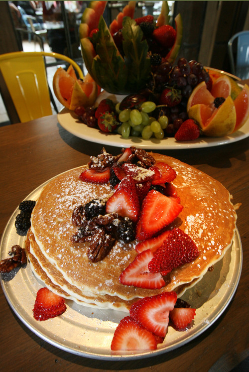 Steve Griffin | The Salt Lake Tribune Pancakes at Herm's Inn restaurant, one of Logan's newest eateries, which can be found inside one of the city's oldest buildings, at 1435 E. Canyon Road.