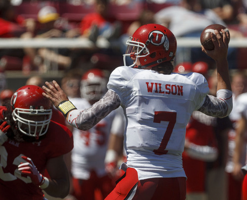 Trent Nelson  |  The Salt Lake Tribune Quarterback Travis Wilson at the Utah Red and White football game Saturday, April 21, 2012 in Salt Lake City, Utah.