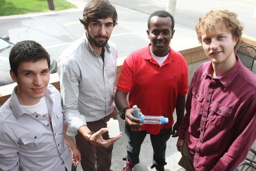 Rick Egan  | The Salt Lake Tribune  Camilo Corredor, left, Chris Ciancone, Jamal Abdinor and Jackson Murphy, undergraduates at Westminster College and the University of Utah, won the U.'s Bench to Bedside Medical Device Competition grand prize with their idea for improving inhalers used by asthmatics. They hope to start a business to manufacture their device called LIYEN, or