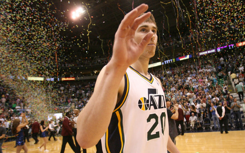 Steve Griffin/The Salt Lake Tribune   Utah's Gordon Hayward waves to the crowd after the Jazz make the playoffs with a victory over the Suns at EnergySolutions Arena in Salt Lake City on Tuesday, April 24, 2012.
