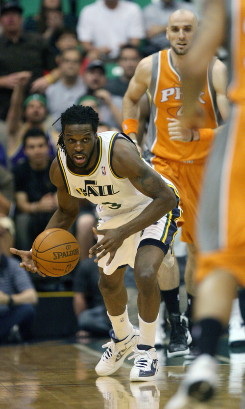 Steve Griffin/The Salt Lake Tribune   Utah's Demarre Carroll heads up court during a game at EnergySolutions Arena in Salt Lake City, on Tuesday, April 24, 2012.