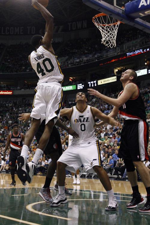 Chris Detrick  |  The Salt Lake Tribune Utah Jazz small forward Jeremy Evans (40) dunks the ball during the second quarter of the game at EnergySolutions Arena Thursday April 26, 2012. .