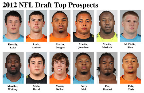 FOR USE AS DESIRED WITH NFL DRAFT STORIES - In these photos taken in February 2012 top NFL Draft prospects are shown at the  NFL scouting combine at Lucas Oil Stadium in Indianapolis. They are, top row, from left, Luke Kuechly, LB, Boston College; Andrew Luck, QB, Stanford; Douglas Martin, RB, Boise State; Jonathan Martin, OT, Stanford; Markelle Martin, FS, Oklahoma State; and Shea McClellin, LB, Boise State. Bottom row, from left, Whitney Mercilus, OLB, Illinois; David Molk, C, Michigan; Kellen Moore, QB, Boise State; Nick Perry, DE, USC; Dontari Poe, DT, Memphis; and Chris Polk, RB, Washington. (AP Photo/Ben Liebenberg) MAGS OUT, NO SALES