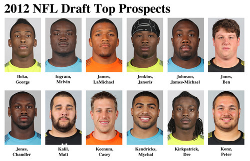 FOR USE AS DESIRED WITH NFL DRAFT STORIES - In these photos taken in February 2012 top NFL Draft prospects are shown at the NFL scouting combine at Lucas Oil Stadium in Indianapolis. They are, top row from left, George Iloka, FS, Boise State; Melvin Ingram, DE, South Carolina; LaMichael James, RB, Oregon; Janoris Jenkins, CB, North Alabama; James-Michael Johnson, LB, Nevada; and Ben Jones, C, Georgia. Bottom row, from left, Chandler Jones, DE, Syracuse; Matt Kalil, OT, USC; Casey Keenum, QB, Houston; Mychal Kendricks, LB, California; Dre Kirkpatrick, CB, Alabama and Peter Konz, C, Wisconsin. (AP Photo/Ben Liebenberg) MAGS OUT, NO SALES