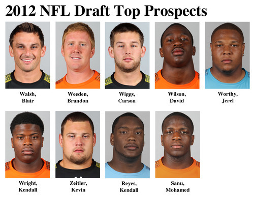 FOR USE AS DESIRED WITH NFL DRAFT STORIES - In these photos taken in February 2012 top NFL Draft prospects are shown at the  NFL scouting combine at Lucas Oil Stadium in Indianapolis. They are, top row, from left, Blair Walsh, K, Georgia; Brandon Weeden, QB, Oklahoma State; Carson Wiggs, K, Purdue; David Wilson, RB, Virginia Tech; and Jerel Worthy, DT, Michigan State. Bottom row, from left, Kendall Wright, WR, Baylor; Kevin Zeitler, G, Wisconsin; Kendall Reyes, DT, Connecticut; and Mohamed Sanu, WR, Rutgers. (AP Photo/Ben Liebenberg) MAGS OUT, NO SALES