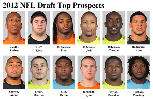 FOR USE AS DESIRED WITH NFL DRAFT STORIES - In these photos taken in February 2012 top NFL Draft prospects are shown at the  NFL scouting combine at Lucas Oil Stadium in Indianapolis. They are, top row, from left, Rueben Randle, WR, LSU; Riley Reiff, OT, Iowa; Trent Richardson, RB, Alabama; Josh Robinson, CB, UCF; Trenton Robinson, FS, Michigan State; and Evan Rodriguez, FB, Temple. Bottom row, from left, Amini Silatolu, G, Midwestern State; Harrison Smith, S, Notre Dame; Devon Still, DT, Penn State; Ryan Tannehill, QB, Texas A&M; Brandon Taylor, S, LSU; and Courtney Upshaw, LB, Alabama. (AP Photo/Ben Liebenberg) MAGS OUT, NO SALES
