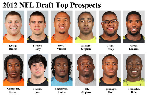 FOR USE AS DESIRED WITH NFL DRAFT STORIES - In these photos taken in February 2012 top NFL Draft prospects are shown at the  NFL Scouting Combine at Lucas Oil Stadium in Indianapolis, Ind. They are, top from, from left, Bradie Ewing, FB, Wisconsin; Coby Fleener, TE, Stanford; Michael Floyd, WR, Notre Dame; Stephon Gilmore, CB, South Carolina; Cordy Glenn, G, Georgia and Ladarius Green, TE, La.-Lafayette. Bottom row, from left, Robert Griffin III, QB, Baylor; Josh Harris, LS, Auburn; Dont'a Hightower, LB, Alabama; Stephen Hill, WR, Georgia Tech; Emil Igwenagu, RB, Massachusetts and Duke Ihenacho, S, San Jose State. (AP Photo/Ben Liebenberg) MAGS OUT, NO SALES