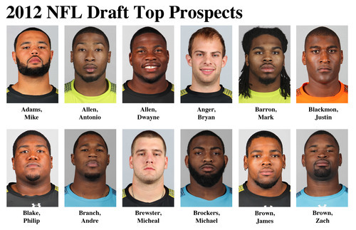 FOR USE AS DESIRED WITH NFL DRAFT STORIES - In these photos taken in February 2012, top NFL Draft prospects are shown at the  NFL Scouting Combine at Lucas Oil Stadium in Indianapolis, Ind. They are, top row from left, Mike Adams, OT, Ohio State; Antonio Allen, S, South Carolina; Dwayne Allen, TE, Clemson; Byran Anger, P, California; Mark Barron, S, Alabama and Justin Blackmon, WR, Oklahoma State. Bottom row, from left, Philip Blake, C, Baylor; Andre Branch, DE, Clemson; Michael Brewster, C, Ohio State; Michael Brockers, DT, LSU; James Brown, G, Troy and Zach Brown, LB, North Carolina. (AP Photo/Ben Liebenberg) MAGS OUT, NO SALES