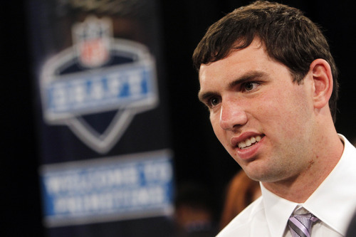 Stanford quarterback Andrew Luck stands by before the first round of the NFL football draft at Radio City Music Hall, Thursday, April 26, 2012, in New York. (AP Photo/Jason DeCrow)
