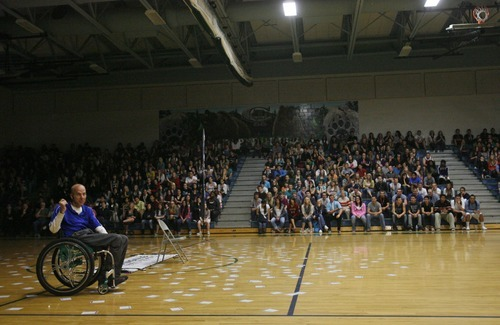 Rick Egan  | The Salt Lake Tribune   Chad Hymas talks to the students about making wise choices, during his