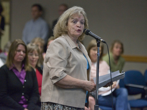Fraughton Photography  President of The Utah Eagle Forum, Gayle Ruzicka voices her concerns about the Utah  Core  Standards at a public forum held at the Granite District board room.  Thursday, April 26, 2012