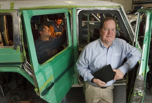 Leah Hogsten  |  The Salt Lake Tribune Once a certified public accountant, International Armoring Corporation CEO and President Mark F. Burton, (right) branched out into armoring cars in 1993. His Utah business based in Centerville, with installation facilities in S. Africa, the Philipines, UK, and Hong Kong, makes vehicles for heads of state in foreign countries, celebrities and some of the wealthiest people in the world.  Friday, April 13 2012 in Centerville.