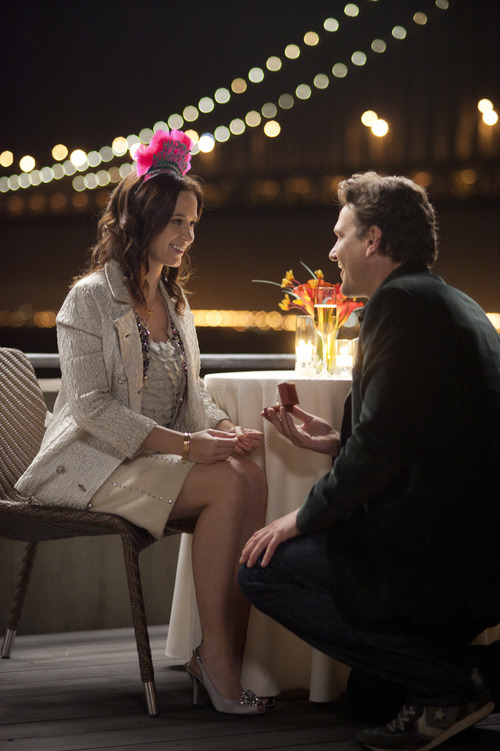 In this film image released by Universal Pictures, Jason Segel, right, and Emily Blunt are shown in a scene from